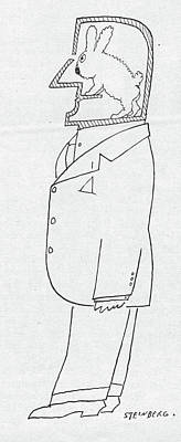 Side View Drawing - New Yorker November 1st, 1958 by Saul Steinberg