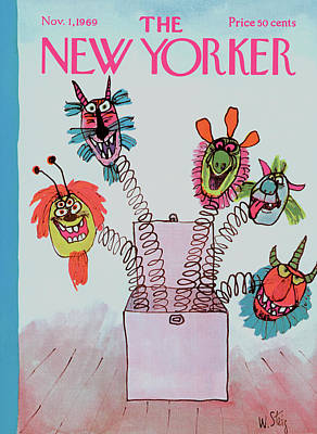 Children Action Painting - New Yorker November 1st, 1969 by William Steig