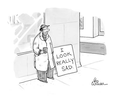 Beggars Drawing - New Yorker November 1st, 1999 by Leo Cullum
