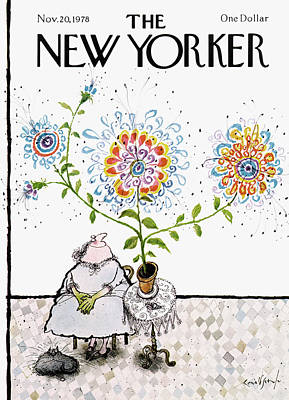 Grandmothers Painting - New Yorker November 20th, 1978 by Ronald Searle