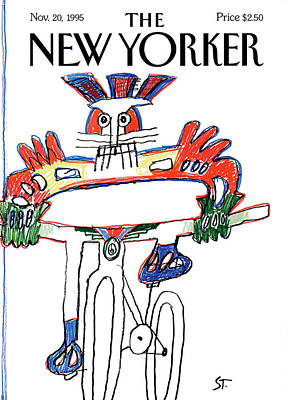 Cyclists Painting - New Yorker November 20th, 1995 by Saul Steinberg