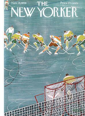 Ice Hockey Painting - New Yorker November 21st, 1959 by Anatol Kovarsky