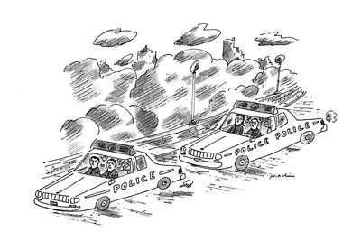 Police Cars Drawing - New Yorker November 21st, 1994 by Michael Maslin