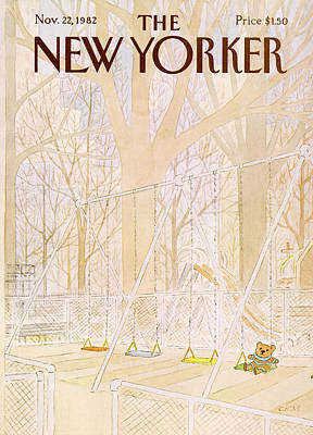 Teddy Bear Painting - New Yorker November 22nd, 1982 by Charles E Martin