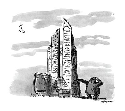 Ape Drawing - New Yorker November 23rd, 1987 by James Stevenson