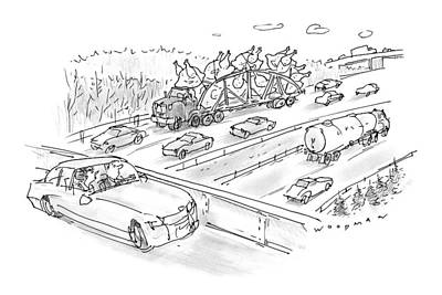 Tractor Drawing - New Yorker November 23rd, 1998 by Bill Woodman
