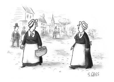 Pilgrims Drawing - New Yorker November 23rd, 1998 by Sam Gros