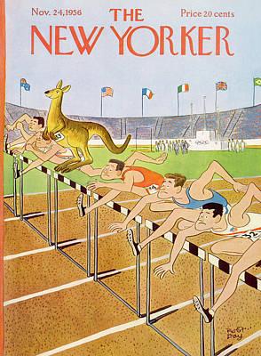 Kangaroo Painting - New Yorker November 24th, 1956 by Robert J. Day