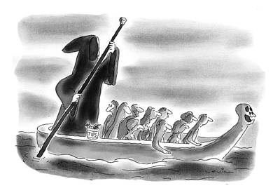 Grim Drawing - New Yorker November 24th, 1997 by Arnie Levin