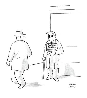 Homeless Man Drawing - New Yorker November 25th, 1944 by Chon Day