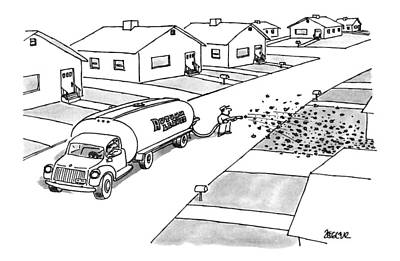 Suburban Drawing - New Yorker November 25th, 1996 by Jack Ziegler