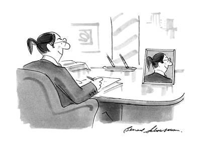 Ponytail Drawing - New Yorker November 26th, 1990 by Bernard Schoenbaum