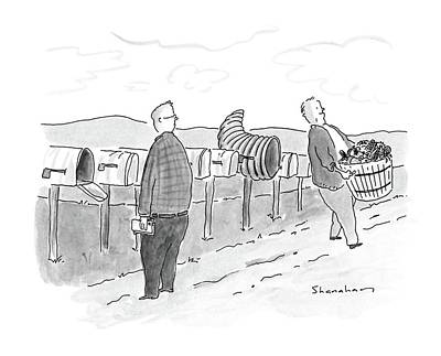 Cornucopia Drawing - New Yorker November 28th, 1988 by Danny Shanahan