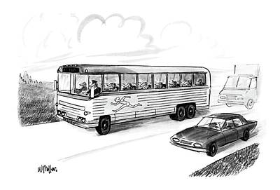 Auto Insignia Drawing - New Yorker November 28th, 1988 by Warren Miller