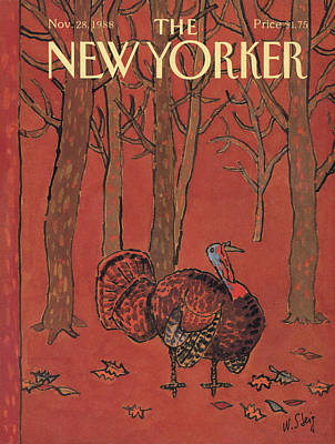 Wild Turkey Painting - New Yorker November 28th, 1988 by William Steig