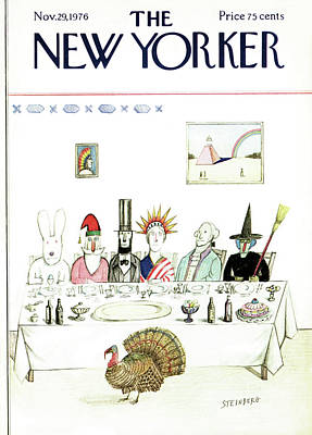 Punch Painting - New Yorker November 29th, 1976 by Saul Steinberg