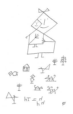 All In The Family Drawing - New Yorker November 30th, 1957 by Saul Steinberg