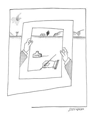 Abstract Landscape Drawing - New Yorker November 30th, 1963 by Saul Steinberg