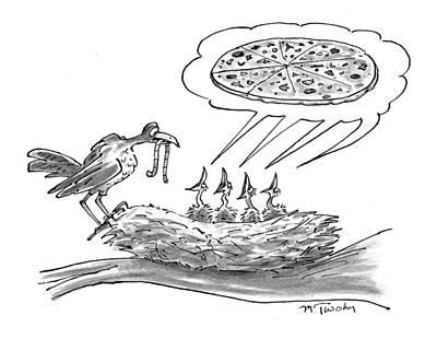 Worm Drawing - New Yorker November 30th, 1998 by Mike Twohy