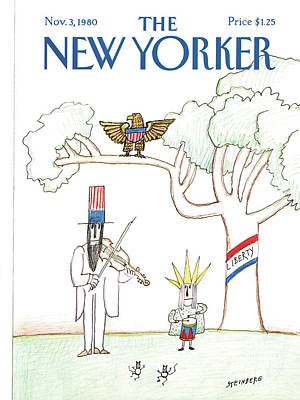 Uncle Sam Painting - New Yorker November 3rd, 1980 by Saul Steinberg