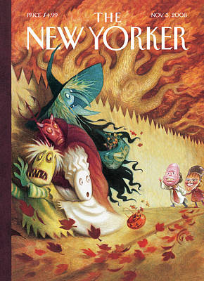 Halloween Painting - New Yorker November 3rd, 2008 by Carter Goodrich