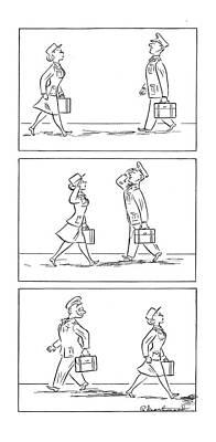 Glimpse Drawing - New Yorker November 6th, 1943 by Roberta Macdonald