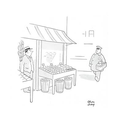 Produce Stands Drawing - New Yorker November 7th, 1942 by Chon Day