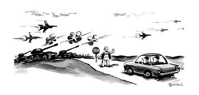 Stop Sign Drawing - New Yorker November 9th, 1987 by Eldon Dedini