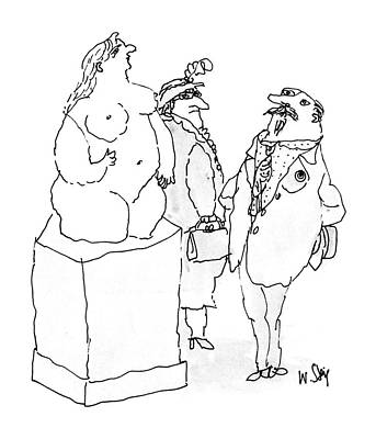 Gazing Drawing - New Yorker November 9th, 1987 by William Steig