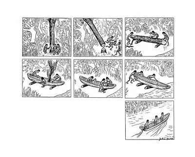 Canoe Drawing - New Yorker October 11th, 1941 by John Groth