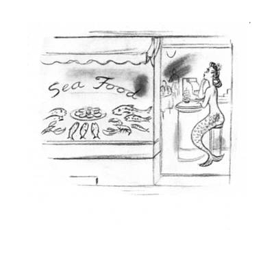 Mermaid Drawing - New Yorker October 11th, 1941 by Leonard Dove