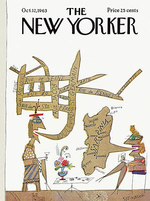 New Yorker October 12th, 1963 Art Print by Saul Steinberg