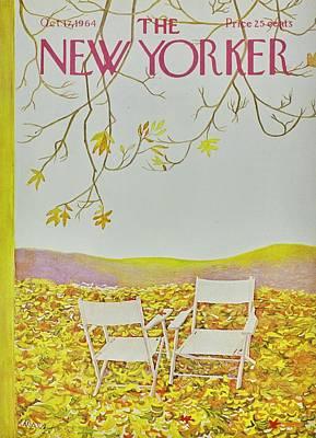 Deck Chair Painting - New Yorker October 12th 1964 by Ilonka Karasz