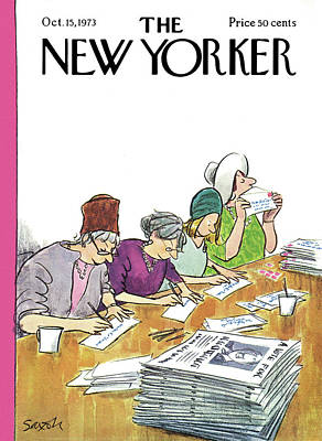 Women Together Painting - New Yorker October 15th, 1973 by Charles Saxon