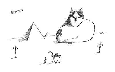 House Cats Drawing - New Yorker October 17th, 1964 by Saul Steinberg
