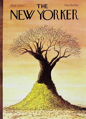 Winter Sunset Painting - New Yorker October 17th 1977 by Robert Weber