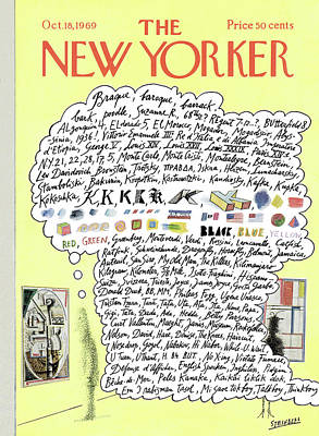 Flag Painting - New Yorker October 18th, 1969 by Saul Steinberg