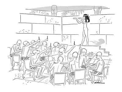 Egyptian Art Drawing - New Yorker October 1st, 1955 by  Alain