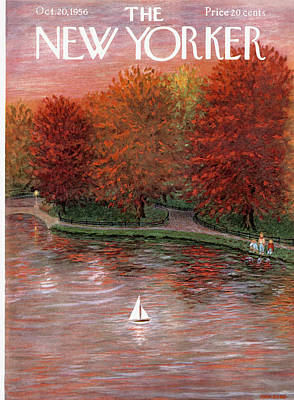 Autumn Painting - New Yorker October 20th, 1956 by Edna Eicke