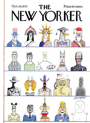 New Yorker October 20th, 1975 Art Print by Saul Steinberg