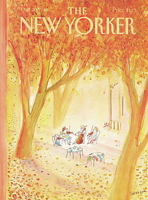 Autumn Leaf Painting - New Yorker October 20th, 1980 by Jean-Jacques Sempe