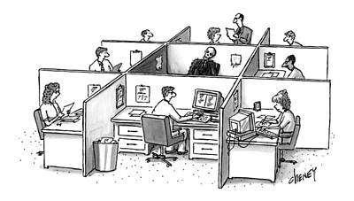 Cubicle Drawing - New Yorker October 20th, 1997 by Tom Cheney