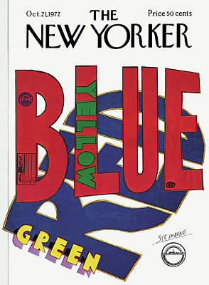 Blue And Red Painting - New Yorker October 21st, 1972 by Saul Steinberg