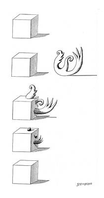 Metaphor Drawing - New Yorker October 22nd, 1960 by Saul Steinberg