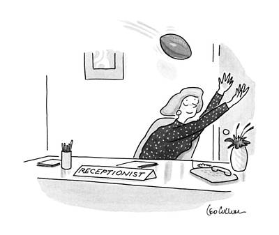 Football Drawing - New Yorker October 22nd, 1990 by Leo Cullum