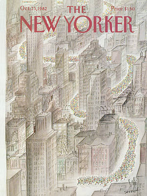 Marathon Painting - New Yorker October 25th, 1982 by Jean-Jacques Sempe