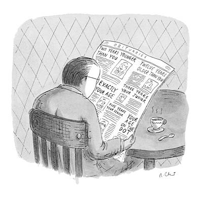 Reading Drawing - New Yorker October 25th, 1993 by Roz Chast