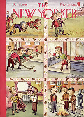 Hockey Painting - New Yorker October 26th, 1940 by William Steig