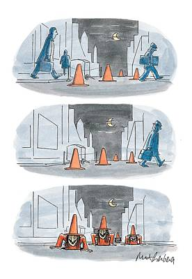 Street Drawing - New Yorker October 26th, 1998 by Mort Gerberg