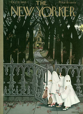 Haunted Painting - New Yorker October 27th, 1945 by Edna Eicke